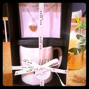 Rae Dunn Necklace & Mug beautiful Gold & White